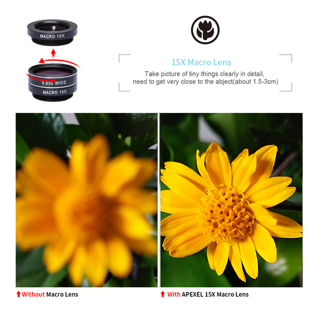 APEXEL 7 in 1 Phone Camera Lens Kit Fish Eye Wide Angle/macro Lens CPL Kaleidoscope and 2X telephoto zoom Lens for iPhone6s 7DG7