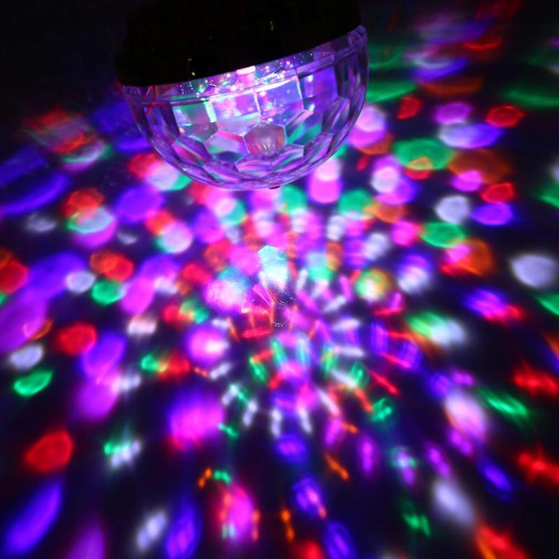 6W RGB LED Stage Light 110V -240V Par Light Rotating Crystal Magic Ball Light Bulb for Party Disco DJ