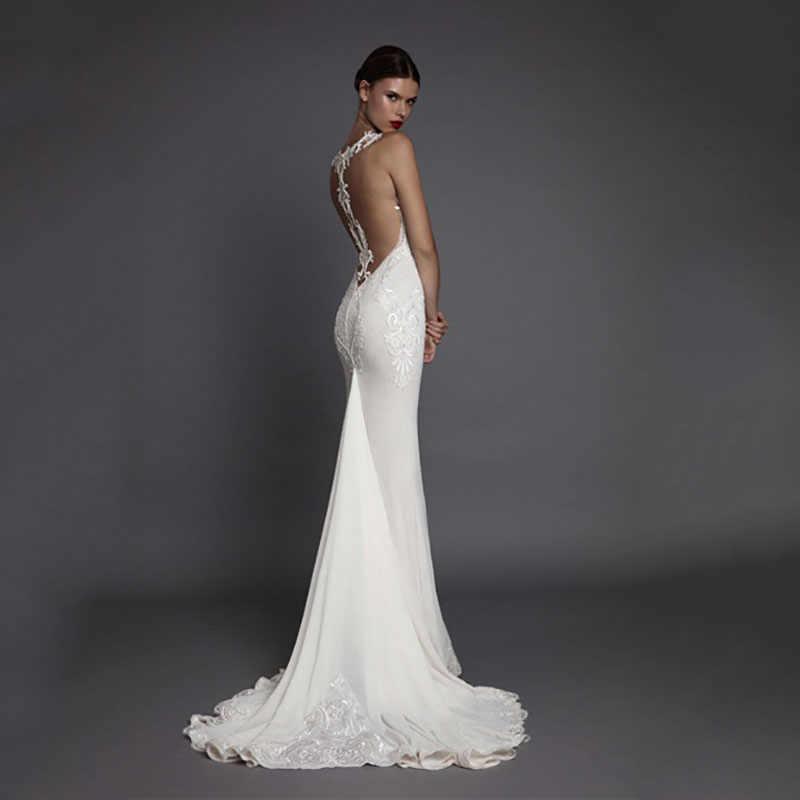 Eightree женское длинное платье Русалка для выпускного вечера белое вечернее 2019 Платье Иллюзия открытая спина v-образным вырезом дамское торжественное платье рыбий хвост
