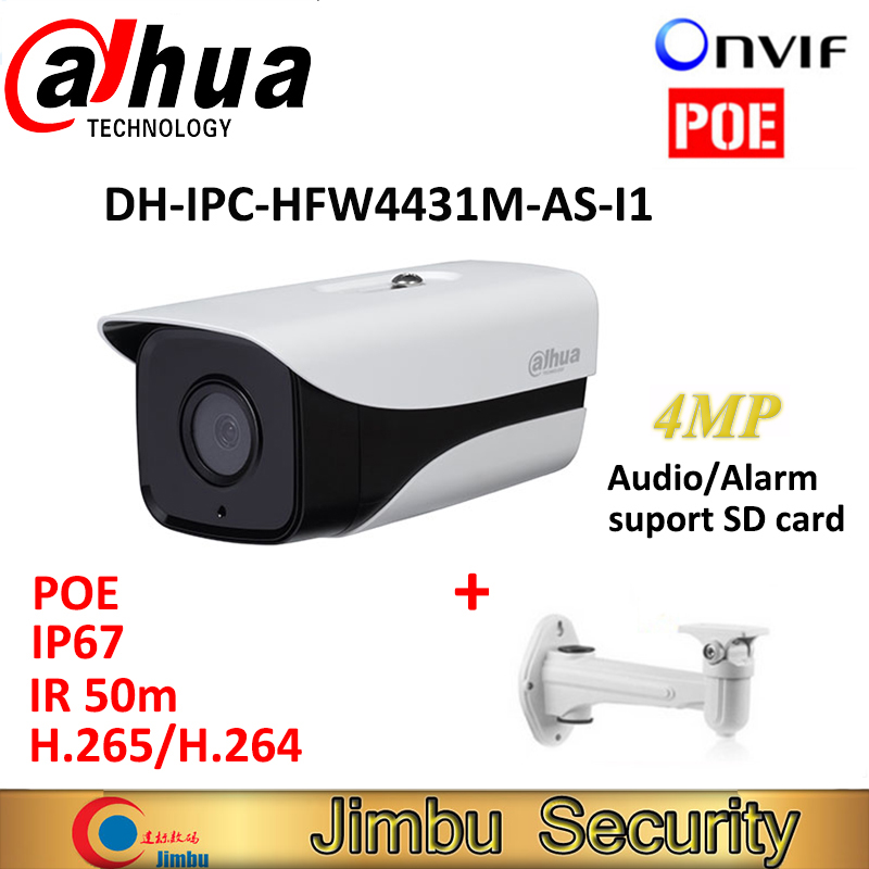 где купить Dahua HFW4431M-AS-I1 4MP H.265 IR Mini Camera POE Full HD Network cctv network bullet with bracket DH-IPC-HFW4431M-AS-I1 дешево