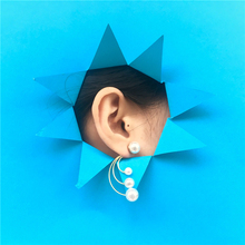 S925 silver needle long U-shaped pearl earrings retro French romantic simple for women