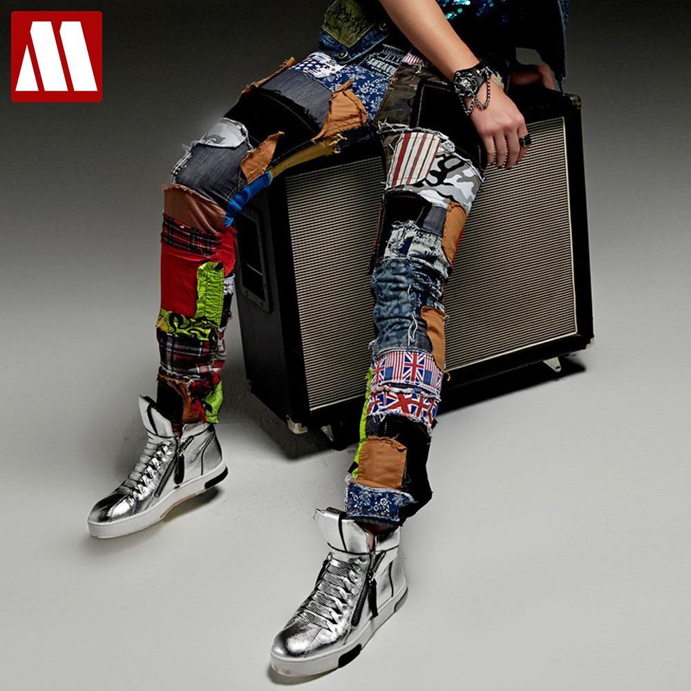 Новые модные повседневные джинсы с заплатами мужской нищий Штаны мужчины певица сценические брюки костюм из двух частей костюмы для ночных...