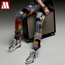 Новые модные повседневные джинсы с вышивкой, мужские нищие брюки, мужские сценические брюки для певицы, костюм для ночного клуба, костюмы, брюки, брендовые