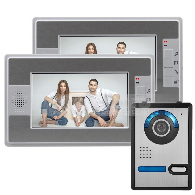 "DIYSECUR 7"" LCD Video Door Phone Doorbell Intercom 1 Camera + 2 Monitor Compatible With Electrical Lock"