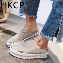 HKCP 2019 new thick-soled platform shoes for women loafers, half slipper women, water diamonds and high fashion C297