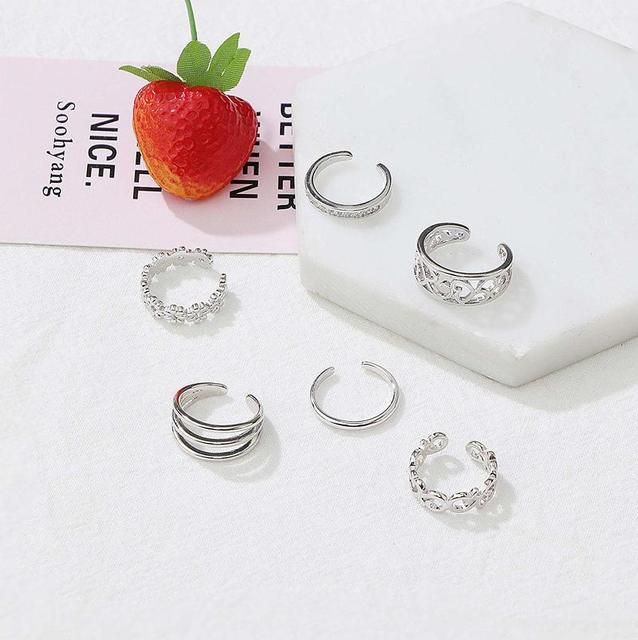 Summer Beach Vacation Knuckle Foot Ring Open Toe Rings Set for Women Girls Finger Heart Ring Adjustable Jewellery Wholesale 6