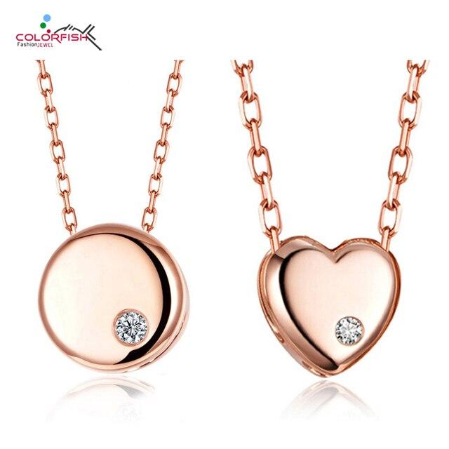 b809c9c164bc COLORFISH 925 Sterling Silver Rose Gold Color Simple colgante collar  incrustado Cz joyería de moda para