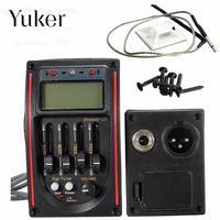 Yuker LC-5 5 полос акустической Гитары пикап эквалайзер предусилителя ЖК-дисплей тюнер Piezo Pickup Эквалайзер Системы