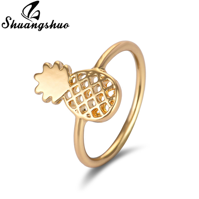 Shuangshuo New Fashion Pineapple Rings for Women Vintage Jewelry Fruit Rings Lov