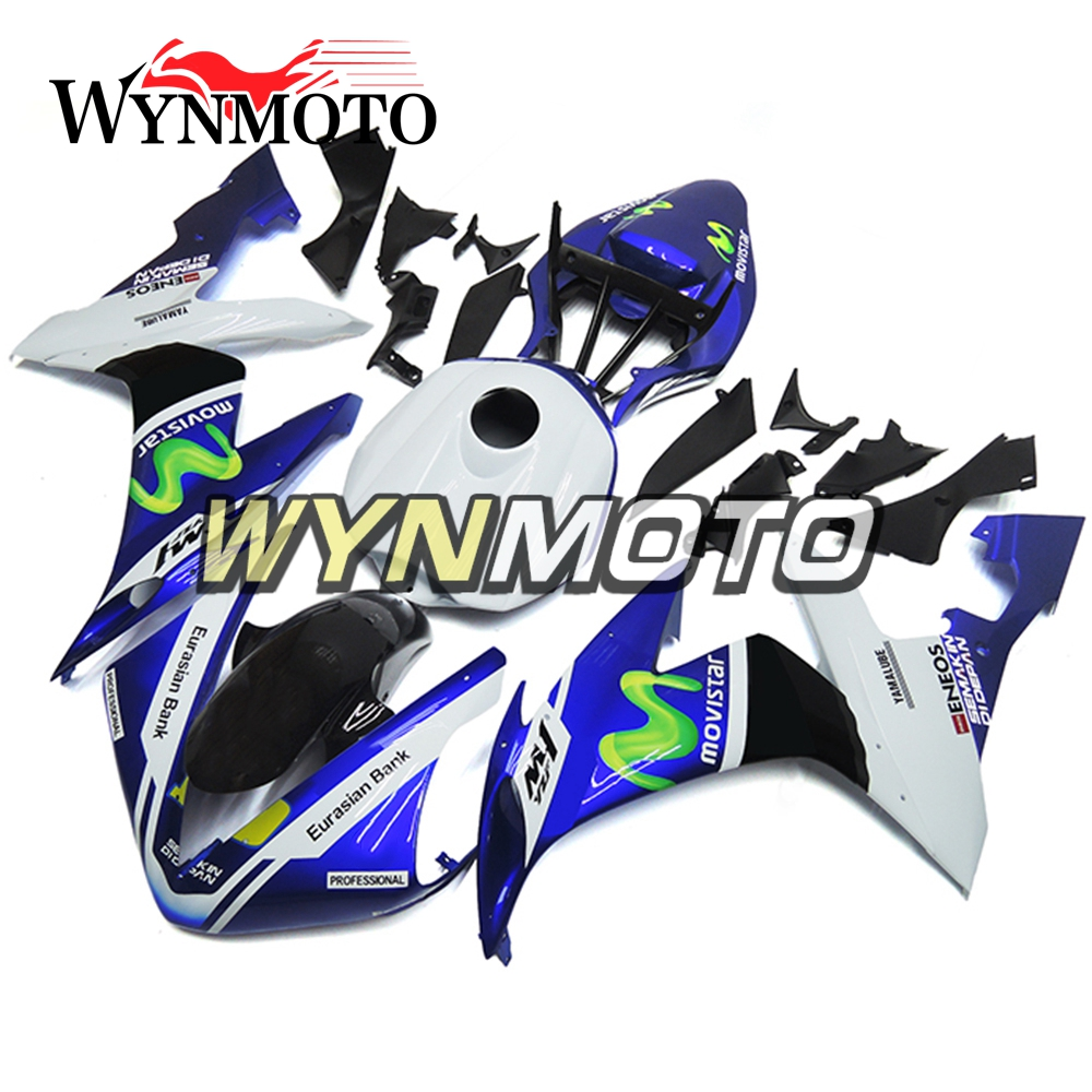 Complete ABS Plastic Injection Blue White Racing Motorcycle Fairings For Yamaha YZF R1 2004 2005 2006 Fairing Kit Body Frames upper front fairing cowl nose fits for yamaha 2004 2005 2006 yzf r1 injection mold abs plastic
