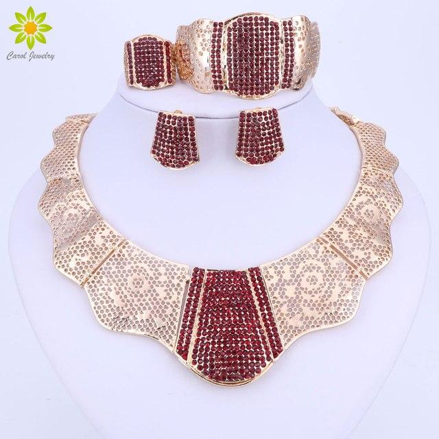 Nuevos conjuntos de joyería de moda de Color dorado para boda, Gargantilla de cristal rojo, pendientes, pulsera, anillo, conjunto de joyería nupcial