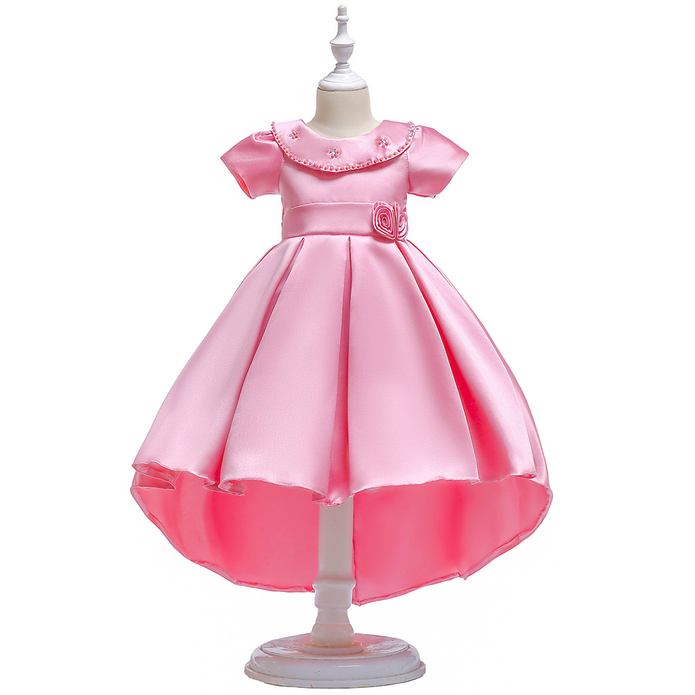 O Neck Little   Flower     Girl     Dresses   Zipper Back A Line Kids Prom   Dress   For Wedding 2019 Short Sleeves First Communion   Dresses