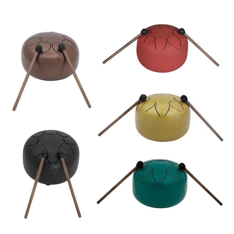 1 Set Mini tambour langue acier avec maillet sac 5 pouces 8 tons pour méditation Yoga Zen diamètre 13 cm