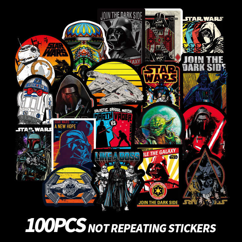 Star Wars Stickers Laptop Skateboard Sticker Darth Vader R2 D2 Han Solo Children Toys Waterproof Luggage Stickers Classic Toys