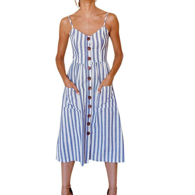 Striped button sexy casual summer strap holiday dress Long boho beach pockets women sundress vestidos Elegant daily dess female