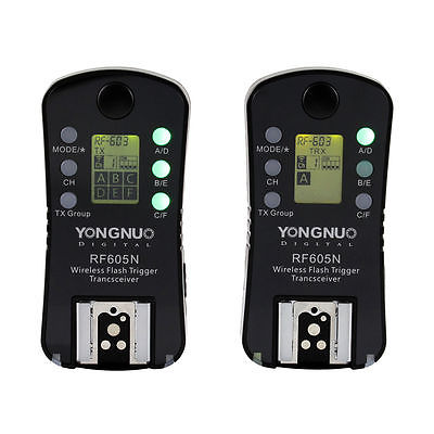 New YONGNUO RF605N Wireless Flash Trigger & Shutter Release 16 Channels with LCD Display Screen for Nikon Cameras RF-605 N