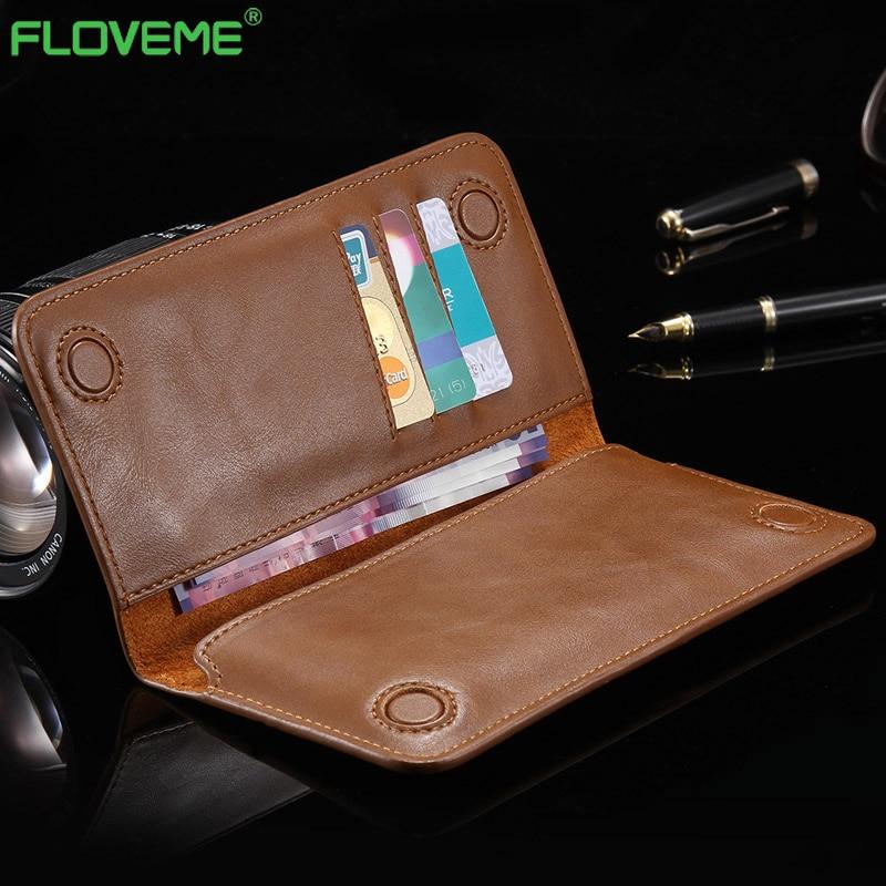 imágenes para Floveme Caja Del Teléfono Bolsa de Cuero para el iphone 7 6 6 s plus para samsung Galaxy s6 S7 S8 Plus borde de Cuero Univeral Bolsa Casos Capa