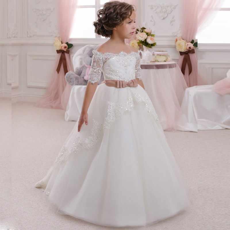 Белое, цвета слоновой кости кружево Платье в цветочек для девочек с поясом длинное платье для девочек Платье для Первого Причастия платье принцессы для девочек