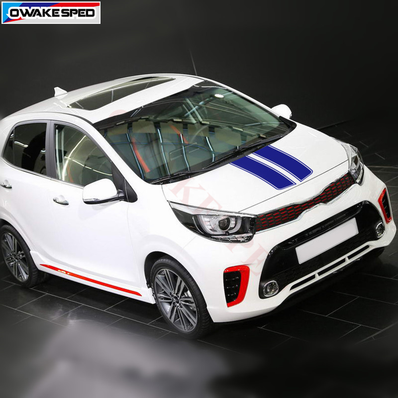 Kia Picanto Gt Line >> Us 10 87 12 Off Car Hood Sticker Engine Cover Decor Decal Sport Styling For Kia Picanto Morning Gt Line 2012 2018 Auto Body Customized Decals In Car
