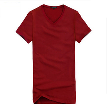 V-neck T-shirt summer male Korean Slim solid color cotton short-sleeved T-shirt men's casual shirt men's tide youth shipping