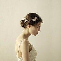 Womens Hair Combs Handmade Hair Jewelry Marriage Wedding Accessories Bridal Headdress Gold Floral O832
