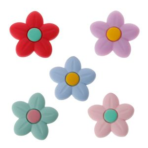 Silicone Beads Flower Shape Charm Teether Baby Teething Jewelry Nursing Baby Oral Care For Pacifier Holder Necklace