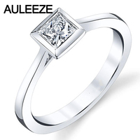 9K White Gold Solitaire Diamond Ring Simple Bezel Setting 1CT Round Simulated Diamond Engagement Wedding Rings