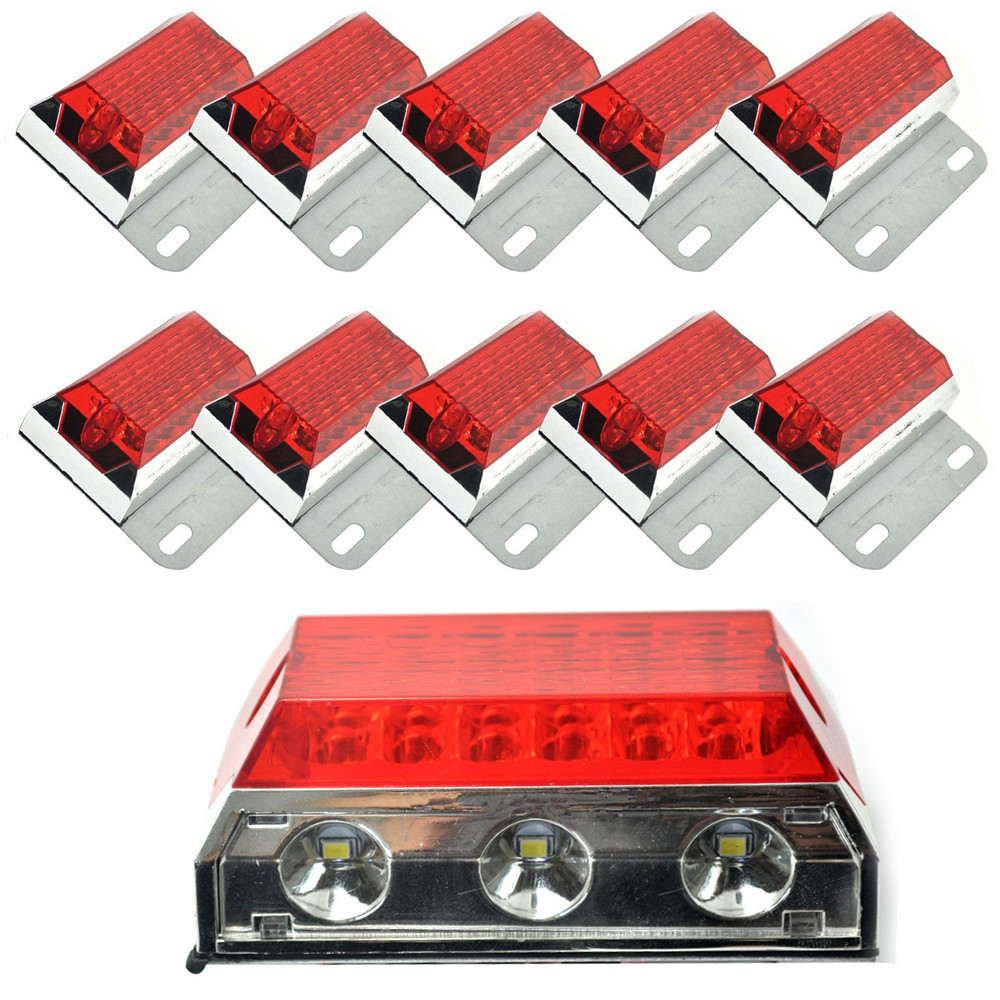 10x Red 15 LED Side Marker Cab Light Clearance Bulb Truck Bus Trailer Caravan Boat SUV ATV 24V cyan soil bay truck trailer side fender marker clearance light chrome bezel 3 led dc 10 30v red