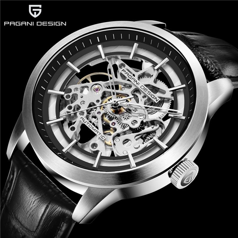 Relógio mecânico pagani design luxo negócios masculinos relógio mecânico esqueleto de couro oco relógio à prova dwaterproof água masculino automático