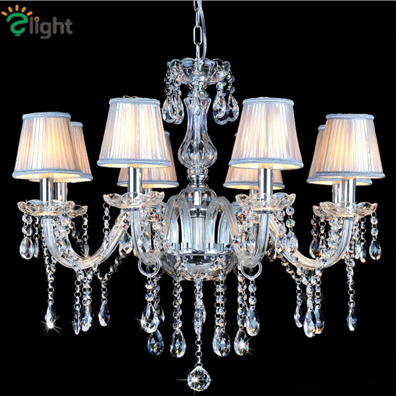 Europe Retro Glass Candle Led Chandeliers Lustre Crystal Dining Room Led Chandelier Lighting Foyer Led Hanging Lights Fixtures modern lustre crystal led chandelier lighting chrome metal living room led pendant chandeliers light led hanging lights fixtures