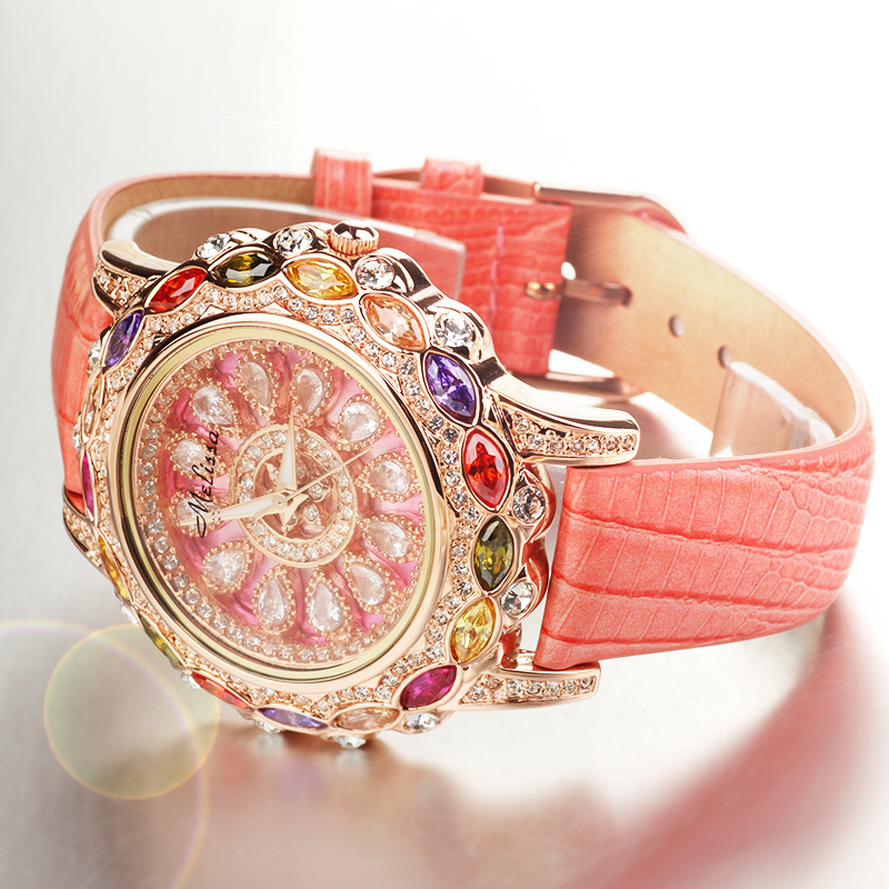 Luxury Melissa Lady Women's Watch Rhinestone Crystal Fashion Hours Dress Bracelet Bling Hollow Lucky Flower Girl Gift Box free silver bracelet watch set full diamond bangle watch lady luxury dress jewelry charm watch rhinestone bling crystal bangle