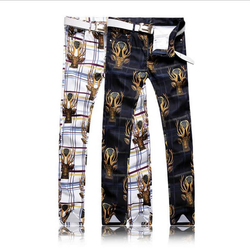 Luxury Deer Animal Print Jeans Fashion Slim Man Long Trousers