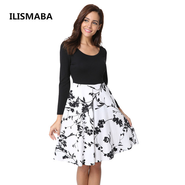ILISMABA New ladies fashion autumn sexy long-sleeved brand dress high-quality printed cotton knitted fabric women T-shirt dress