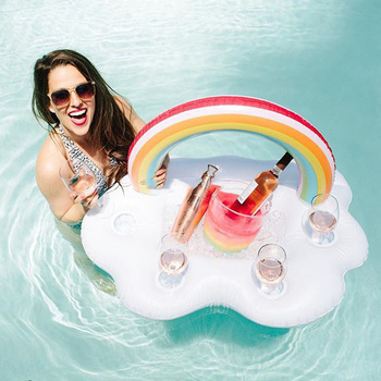 Ice Bucket Rainbow Cloud Cup Holder Inflatable 1