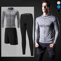 New Pro Zipper Compression Tracksuit Running Hoodies Jacket Set For Men Long Sleeve Sports Gym Fitness