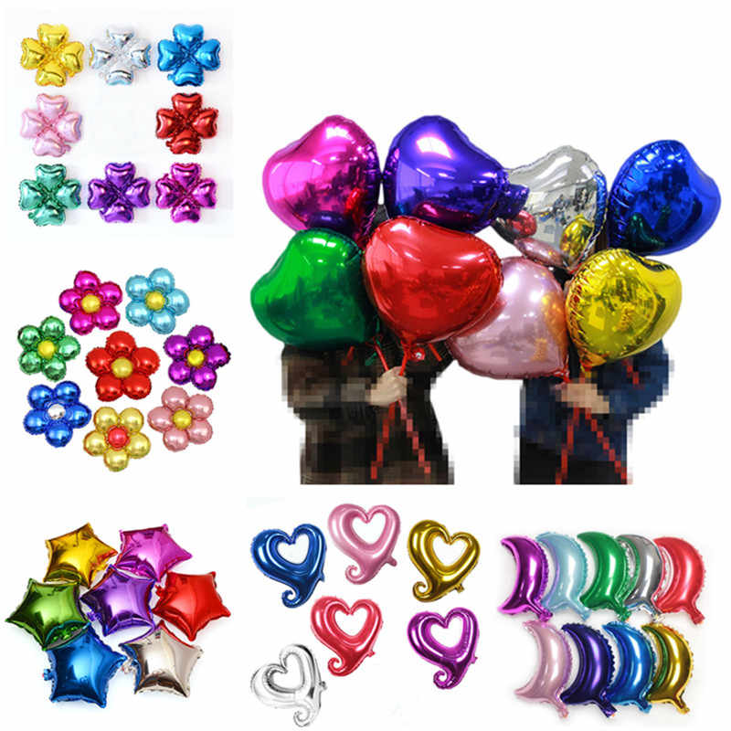 18 Inch Big Star Aluminum Foil Balloon Heart Wedding Birthday Party Decorations Kids Wedding Market Hotel Supplies Air Balloons