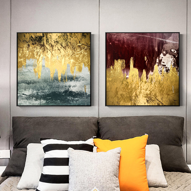 Golden Flowing Paint Canvas Painting Abstract Wall Picture
