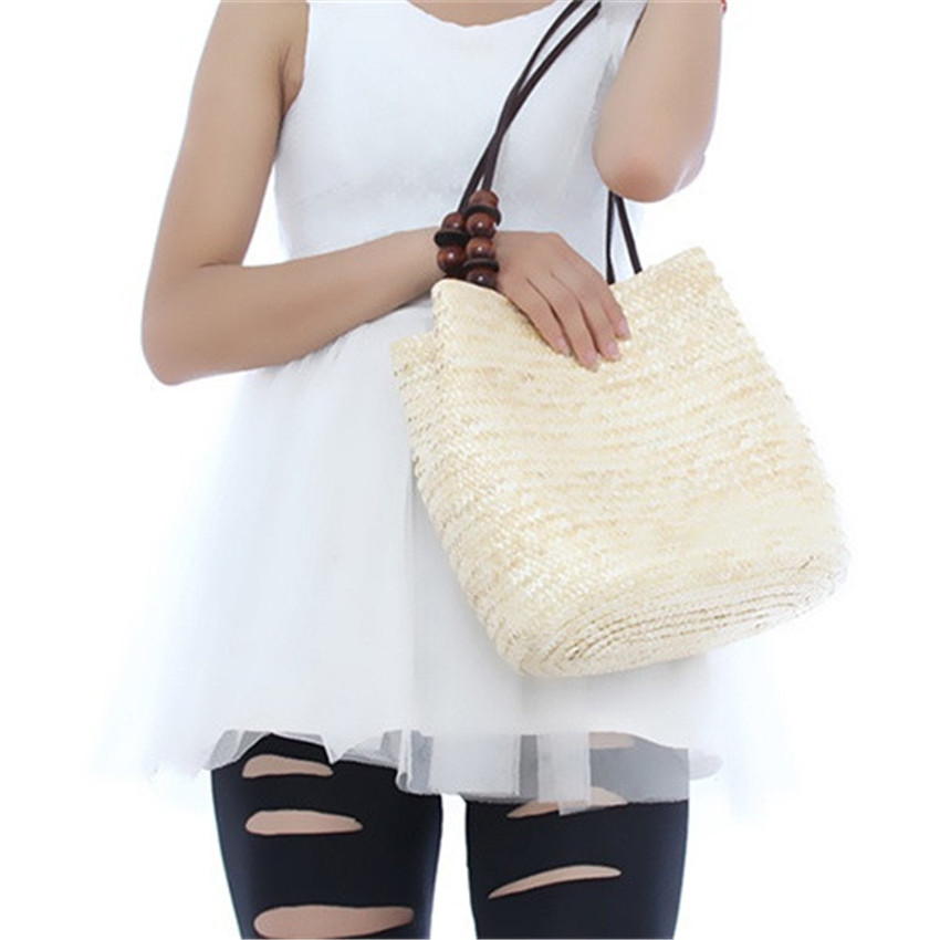 Women Retro Wooden Beads Beach Shoulder Bag trend bolsas femininas Straw Woven Bags Tote Handbag RD641874
