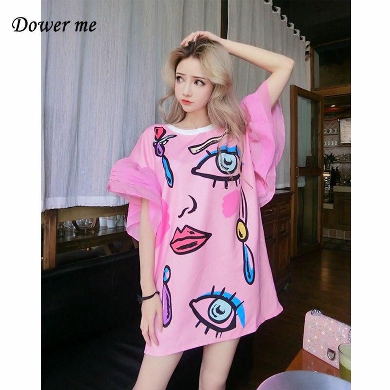 Female Hip Hop Dress Vestidos Women Cartoon Cotton Dress Ladies Patchwork Chiffon Flare Sleeve Loose T Shirt Dresses FS001