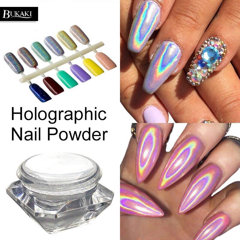 BUKAKI Nail-Powder 3d-Rainbow-Pigment Glitter-Hologram Chrome Lacquer 1-Box