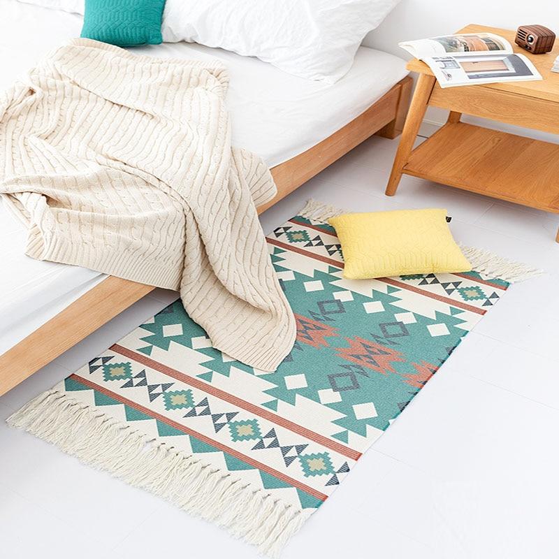Black And White Tassel Rug: Modern Morocco Black And White Tassels Rug Cotton Hand