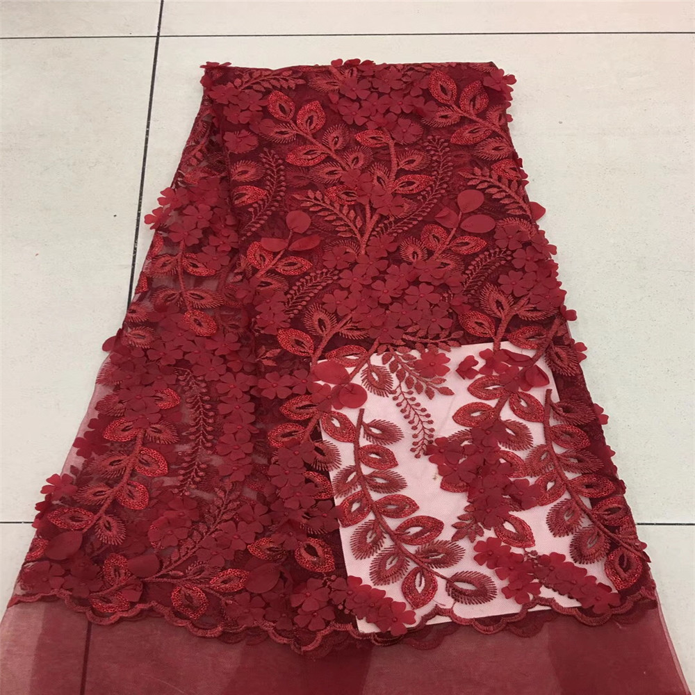 Wine Color Latest High Quality African Tulle Lace 3d Lace Fabric With Sequins Embroidered Nigerian For