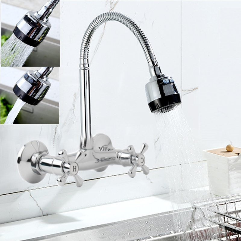 360 Swivel Spout Bathroom Kitchen Wall Mounted Brass Sink Faucet Tap Durable Chrome Basin Faucet Taps Hot Cold Water Mixer