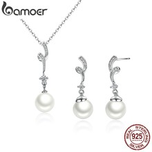 BAMOER Popular Elegant 925 Sterling Silver White Pearl Jewelry Set for Women Pendant Necklace & Earrings SCN048+SCE035(China)