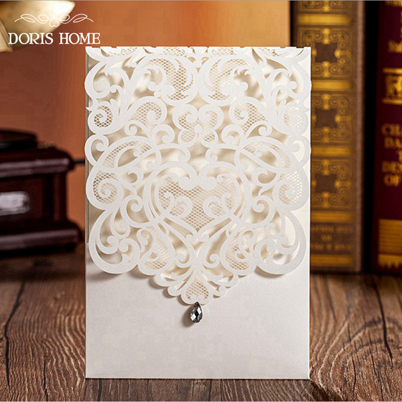 100pcs Elegant Vertical Ivory White Wedding Invitation With Rhinestone U0026  Laser Cut Flower, CW5001(