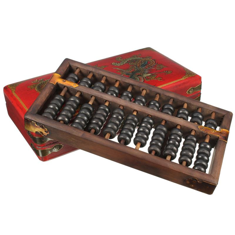 Vintage Chinese Wooden Bead Arithmetic Abacus With Box Classic Ancient Calculator Counting Collection Gift For Children Adult