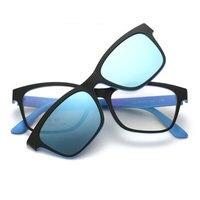 Fashion Sunglasses Clip On Urltra Light TR90 Eyeglasses Frame With Polarized Clip On Sunshades For Men