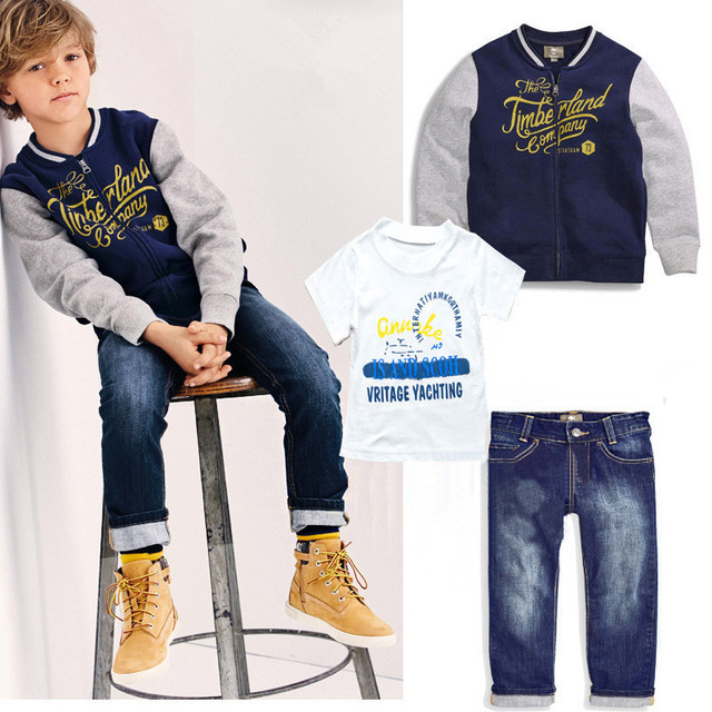 dce8ccba7fe4 NEW boys clothing set casual clothes boys clothes shirt +jeans+baseball coat