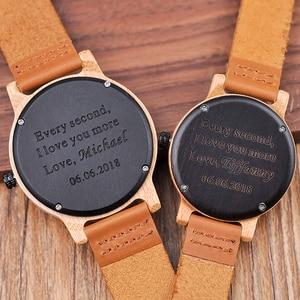 Image 2 - Часы BOBO BIRD для пар, Гравировальный подарок, мужские часы, семейный сын, Папа, мама, мужские Кварцевые женские и мужские наручные часы с логотипом bayan kol saati