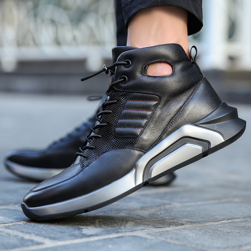 ab50a401c07b Autumn and Winter Men Genuine Leather Running Shoes Outdoor Waterproof  Non-slip Sneakers High To